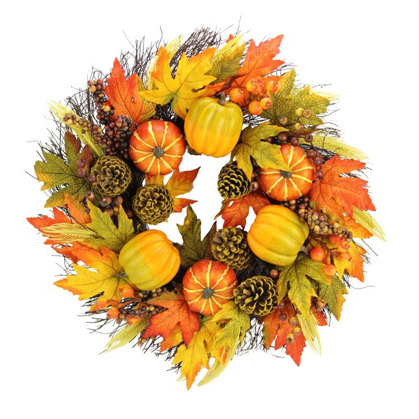 Fall Festive Harvest Display 24 Plastic Wreath by Charlton Home