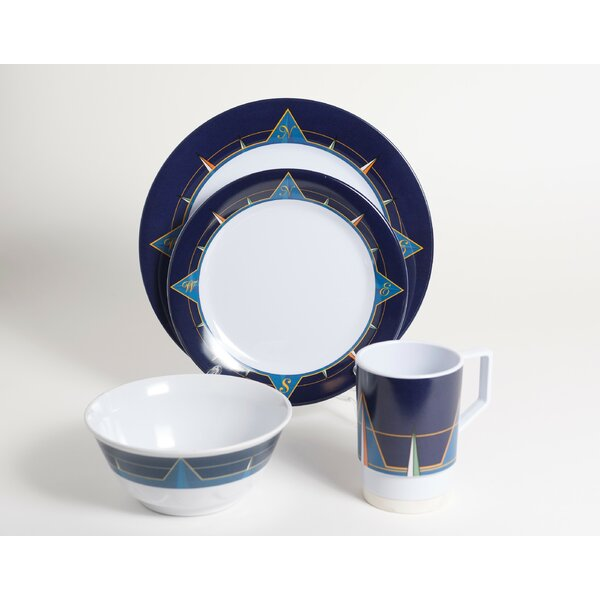 Decorated Melamine Blue Compass 24 Piece Dinnerware Set, Service for 6 by Galleyware Company