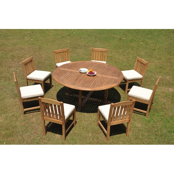 Pretor 9 Piece Teak Dining Set by Rosecliff Heights