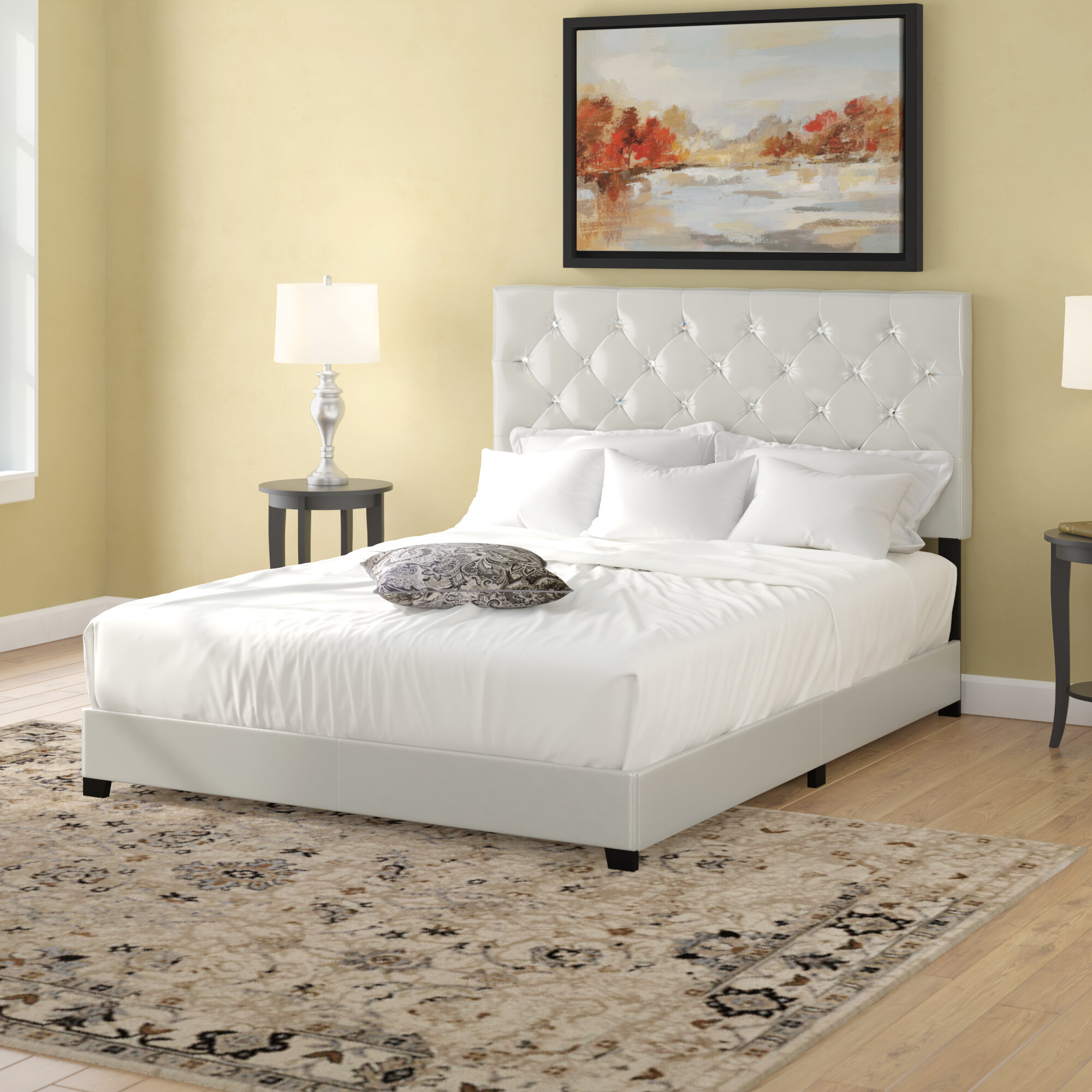 new product 394d3 4d1e9 Ridenhour Diamond Upholstered Standard Bed