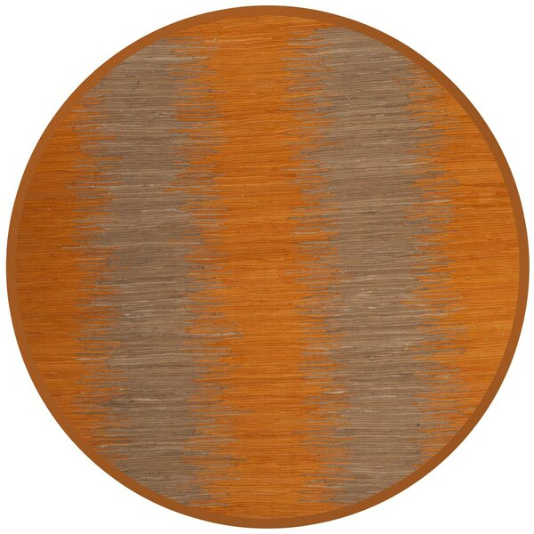 Cayman Hand-Woven Orange Cotton Area Rug by Highland Dunes