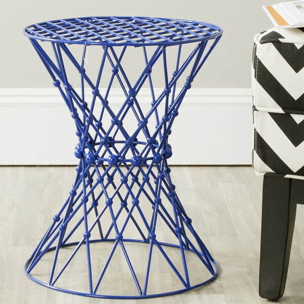 Vanbuskirk Iron Wire Blue Accent Stool by Wrought Studio