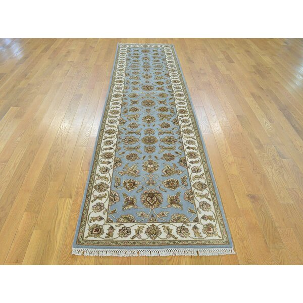 One-of-a-Kind Bear Hand-Knotted Blue Wool/Silk Area Rug by Isabelline