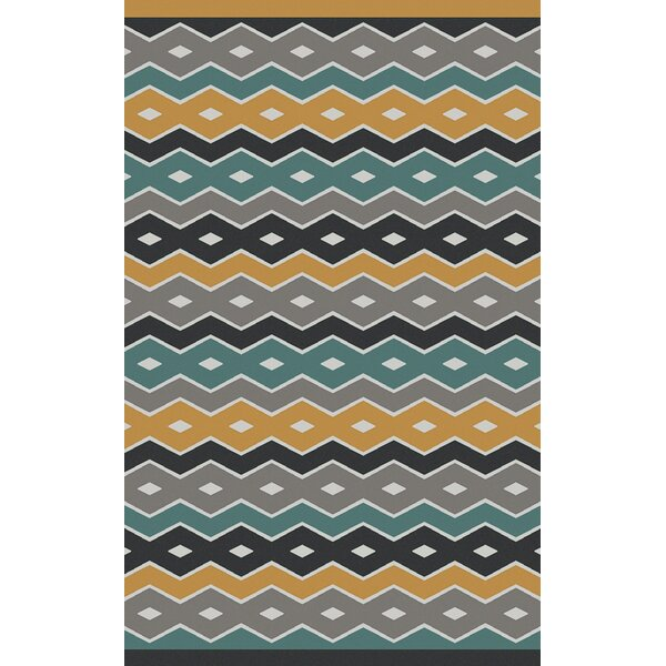 Native Geometric Hand Woven Wool Blue/Gray Area Rug by Aimee Wilder Designs