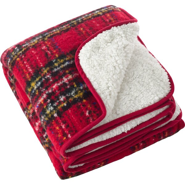 Burnsfield Red Faux Mohair Sherpa Throw by Loon Peak