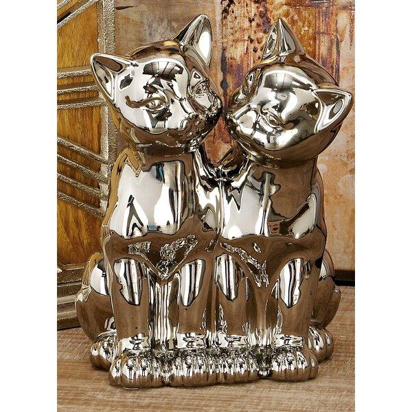 Rabayda Modern Ceramic Sitting Cats Sculpture by Red Barrel Studio