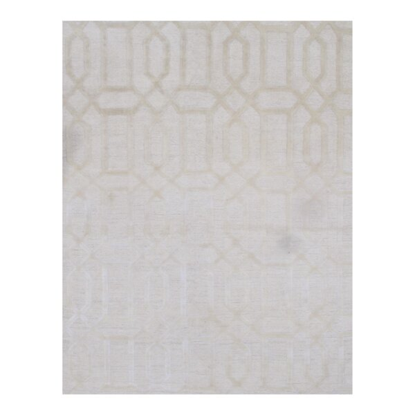 Modern Hand-Knotted Silk Gray Area Rug by Pasargad NY