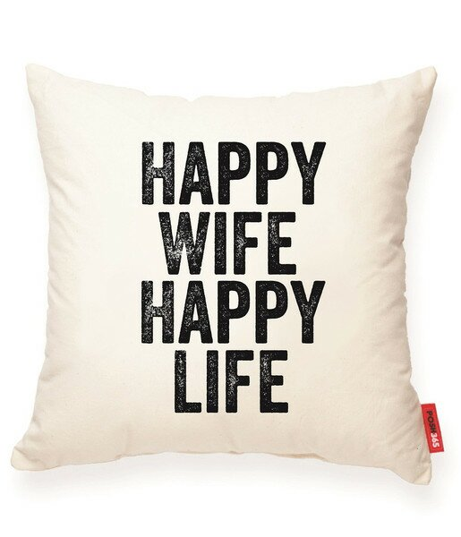 Expressive Happy Wife Happy Life Decorative Cotton Throw Pillow by Posh365