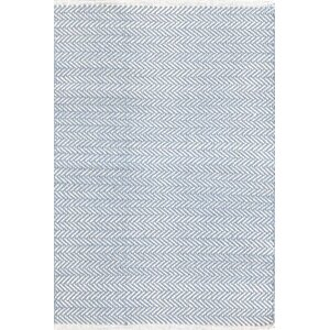 Herringbone Hand Woven Powder Blue Area Rug