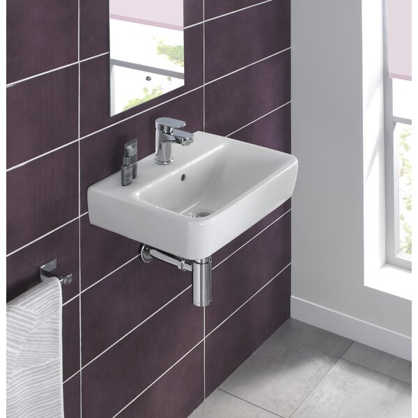 Comprimo Ceramic 18 Wall Mount Bathroom Sink with Overflow by Bissonnet
