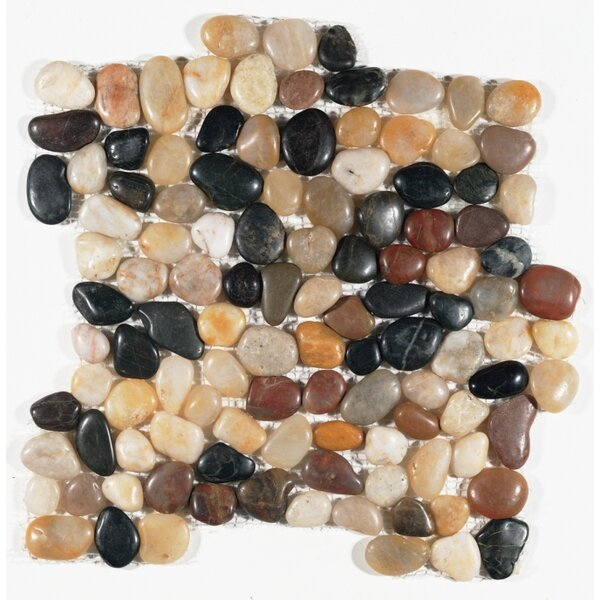 Mixed Pebble Random Sized Natural Stone Mosaic Tile in Black/Brown by FuStone