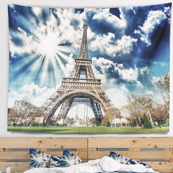 Skyline Photography Magnificent Paris Eiffel Tower View Tapestry by East Urban Home