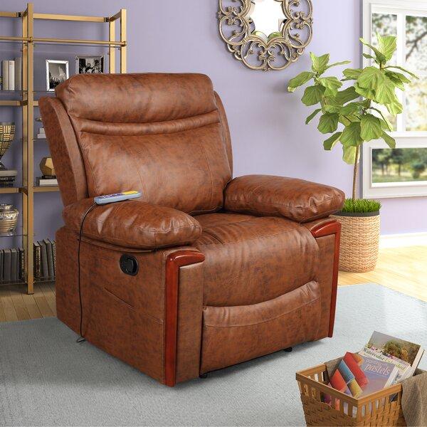 Power Reclining Heated Massage Chair Red Barrel Studio W002617410