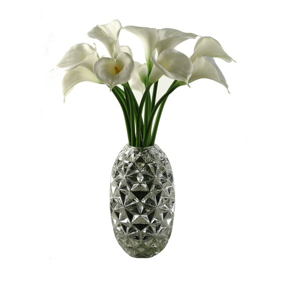 Large White Natural Touch Calla Lilies in Silver Glass Vase by D & W Silks