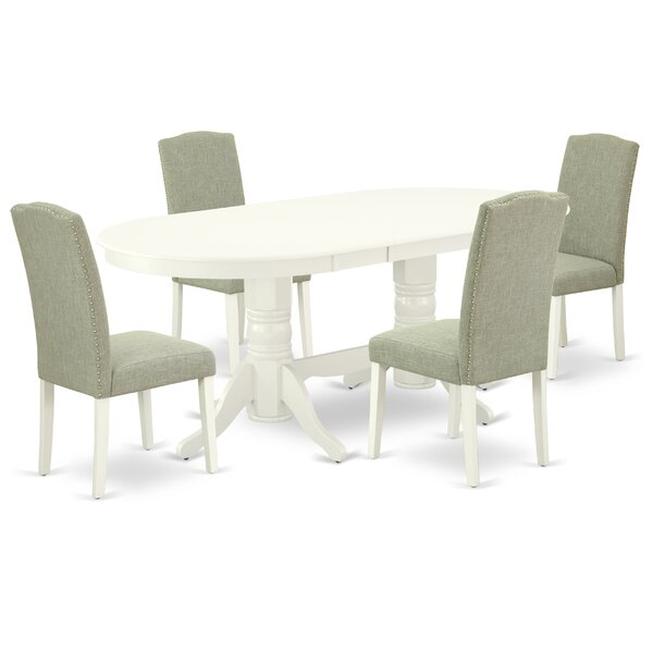 Ayush 5 Piece Extendable Solid Wood Dining Set by Winston Porter Winston Porter