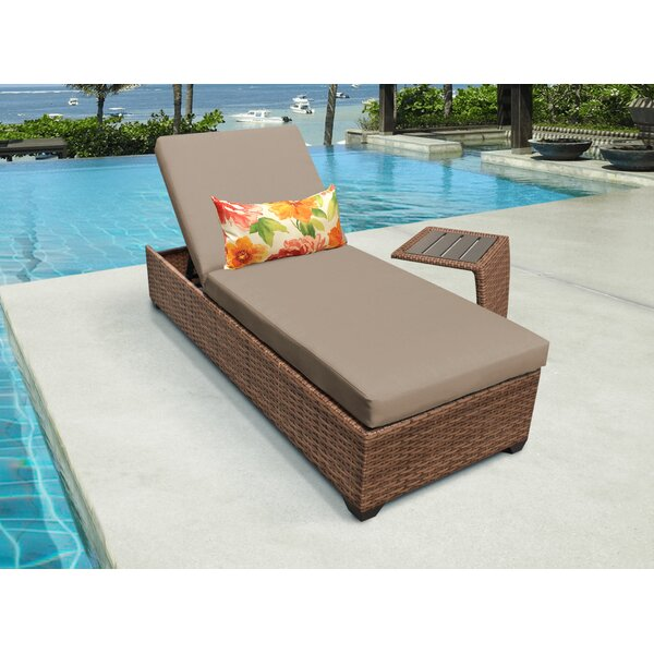 Medina Reclining Chaise Lounge with Cushion and Table by Rosecliff Heights