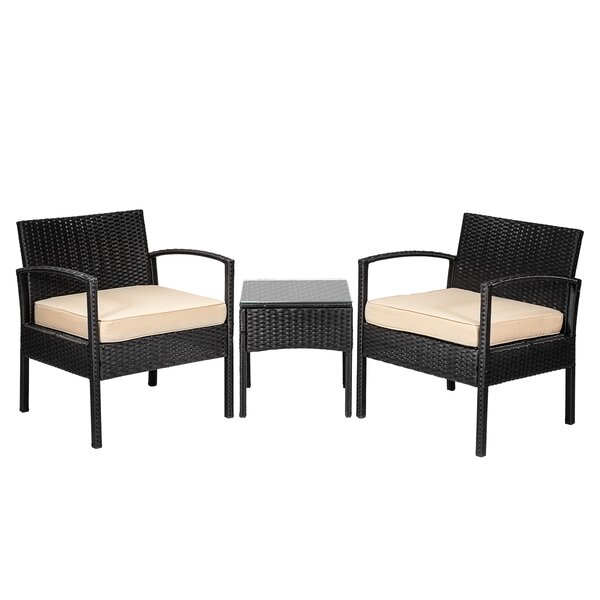 Jerrell Outdoor 3 Piece Rattan Seating Group with Cushions by Alcott Hill
