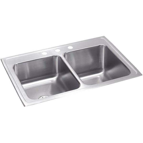 Lustertone 33 L x 22 W Double Basin Drop-In Kitchen Sink with Perfect Drain by Elkay