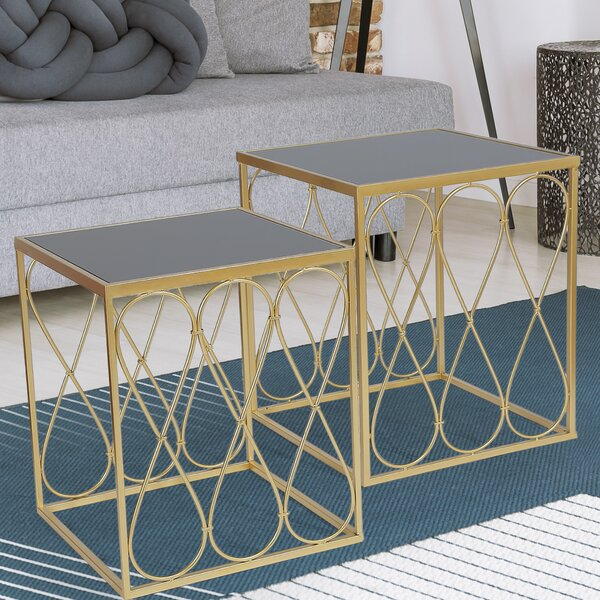 Reuter Metal Cube 2 Piece Nesting Tables By Everly Quinn
