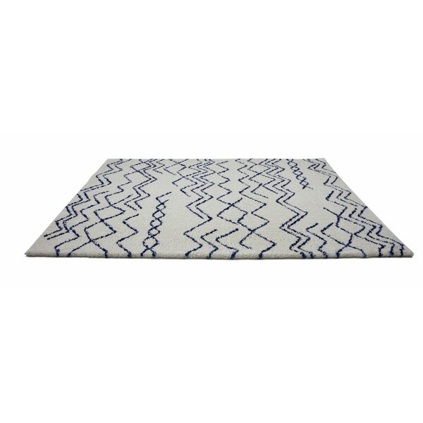 Cedar Shaggy Ivory/Navy Area Rug by Foundry Select