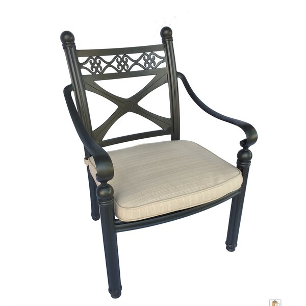 Raffaele Cast Stacking Patio Dining Chair with Cushion (Set of 4) by Fleur De Lis Living