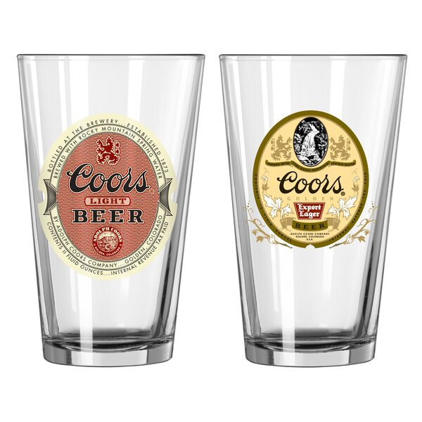 Coors Retro 2 Piece 16 Oz. Glass Pint Glasses Set by Boelter Brands