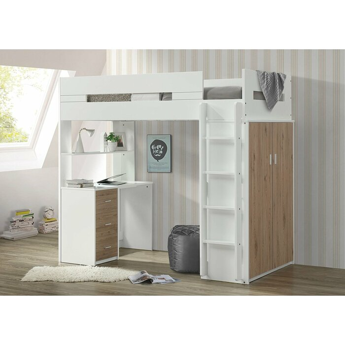 Adne Wooden Twin Loft Bed With Drawers And Desk Shelf Wardrobe