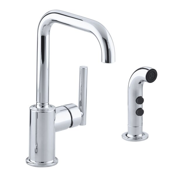 Purist Two-Hole Kitchen Sink Faucet with 6 Spout and Matching Finish Sidespray by Kohler