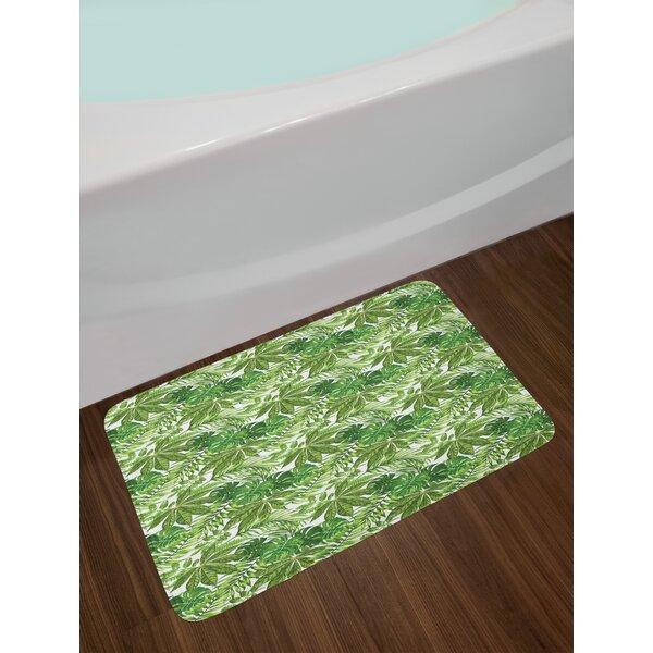 Mix Green Olive Green White Palm Leaf Bath Rug by East Urban Home