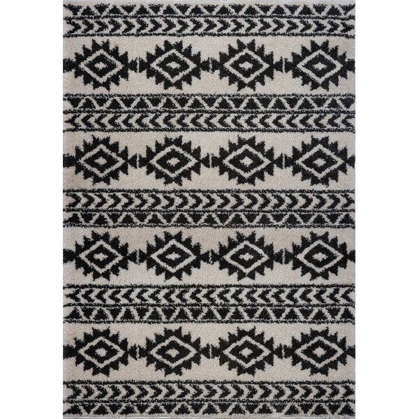 Hiebert Black/Ivory Area Rug by Bloomsbury Market