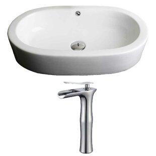Compare Semi-Recessed Ceramic Oval Vessel Bathroom Sink with Faucet and Overflow ByRoyal Purple Bath Kitchen