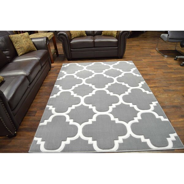 Mccampbell 3D Gray/White Area Rug by Ivy Bronx