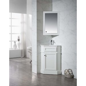 Rocher 26 5  Single Corner Bathroom Vanity Set with Mirror Vanities You ll Love Wayfair