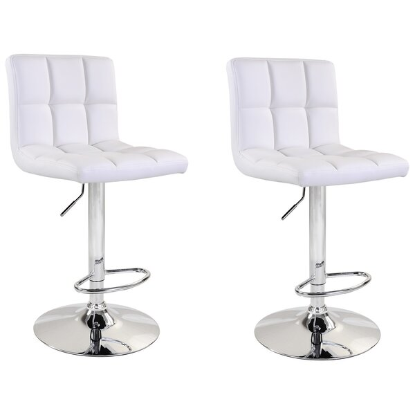 Shultis Adjustable Height Swivel Bar Stool (Set of 2) by Brayden Studio
