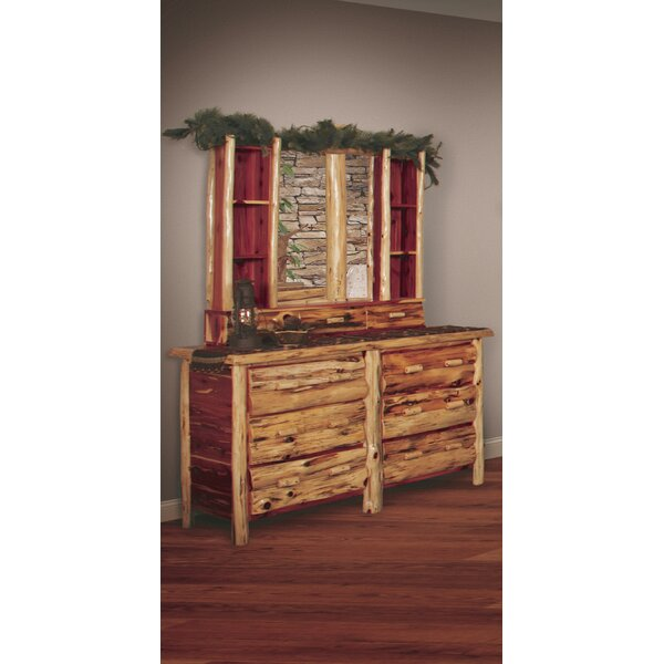 Garstang Log 6 Drawer Double Dresser with Mirror by Loon Peak
