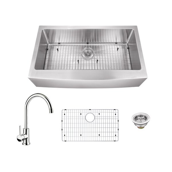 16 Gauge Stainless Steel 35.88 L x 20.75 W Farmhouse/Apron Kitchen Sink with Gooseneck Faucet by Soleil