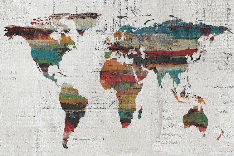 Mercury row painted world map iv painting print on wrapped canvas painted world map iv painting print on wrapped canvas gumiabroncs Images