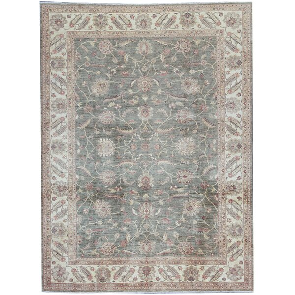 One-of-a-Kind Hand-Knotted Ziegler Green 10' x 13'2 Wool Area Rug