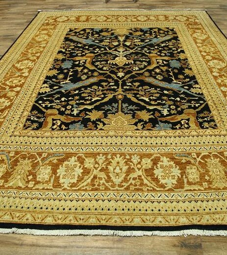 One-of-a-Kind Bovill Peshawar Pakistan Oriental Hand-Knotted Wool Navy/Beige Area Rug by Canora Grey
