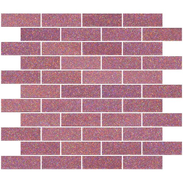 1 x 3 Glass Subway Tile in Pink by Susan Jablon