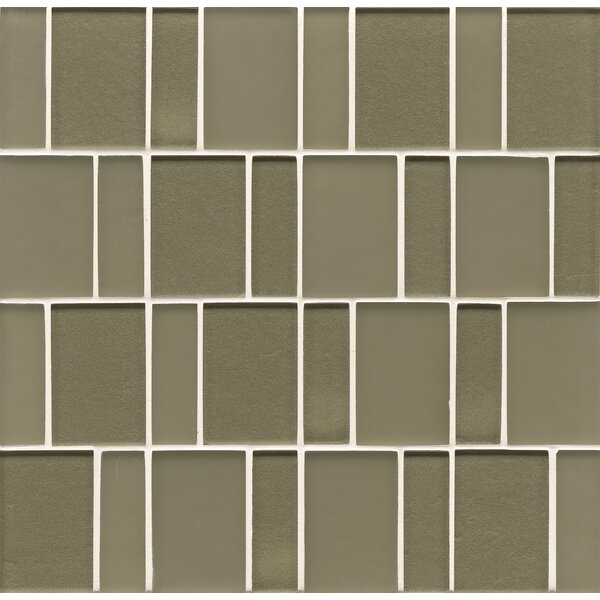 Remy Glass Mosaic Brick Tile in Verdant by Grayson Martin