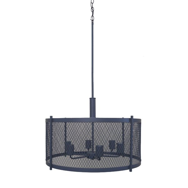 Glen 6 - Light Shaded Drum Chandelier by Whitfield Lighting Whitfield Lighting