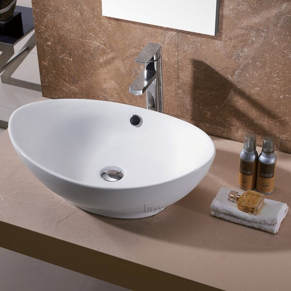Egg Ceramic Oval Vessel Sink Bathroom Sink by Luxier