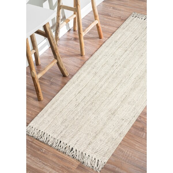 Elana Hand-Woven Bleached Ivory Area Rug by Beachcrest Home