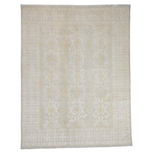 One-of-a-Kind Kells-Connor Overdyed Worn Hamadan Hand-Knotted Beige Area Rug by Canora Grey