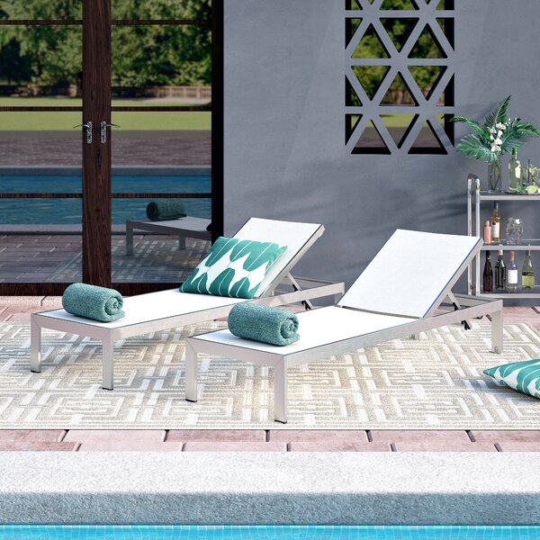 Coline Reclining  Chaise Lounge Outdoor Patio Aluminum Single Chaise (Set of 2) by Orren Ellis Orren Ellis