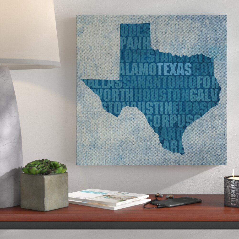 Wrought Studio \'Texas State Words\' Textual Art on Wrapped Canvas ...