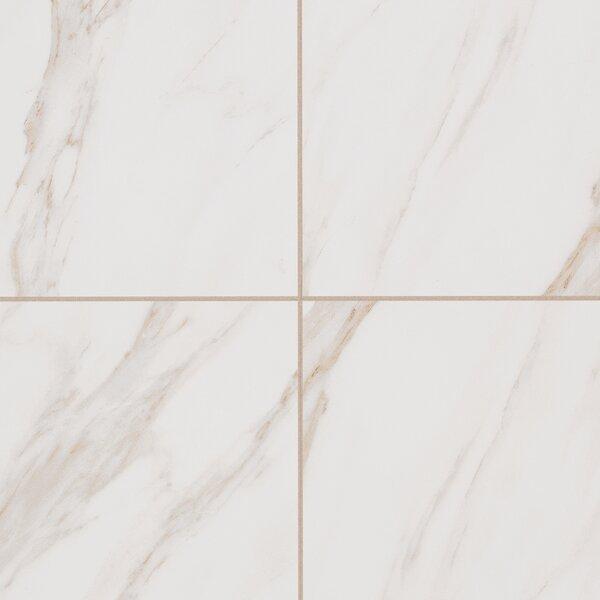 Bradwell Glazed 12 x 12 Porcelain Field Tile in Bianco Cararra by Mohawk Flooring
