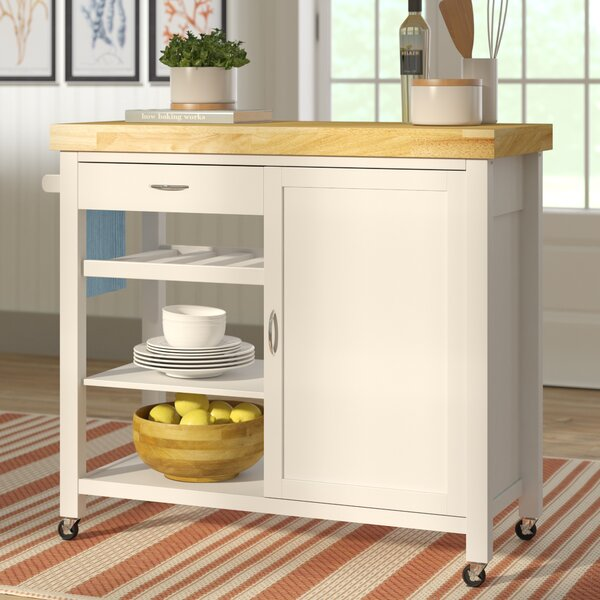 Lake Hamilton Kitchen Island with Wood Top by Beachcrest Home