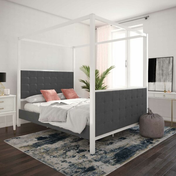 Bowery Queen Upholstered Canopy Bed by CosmoLiving by Cosmopolitan